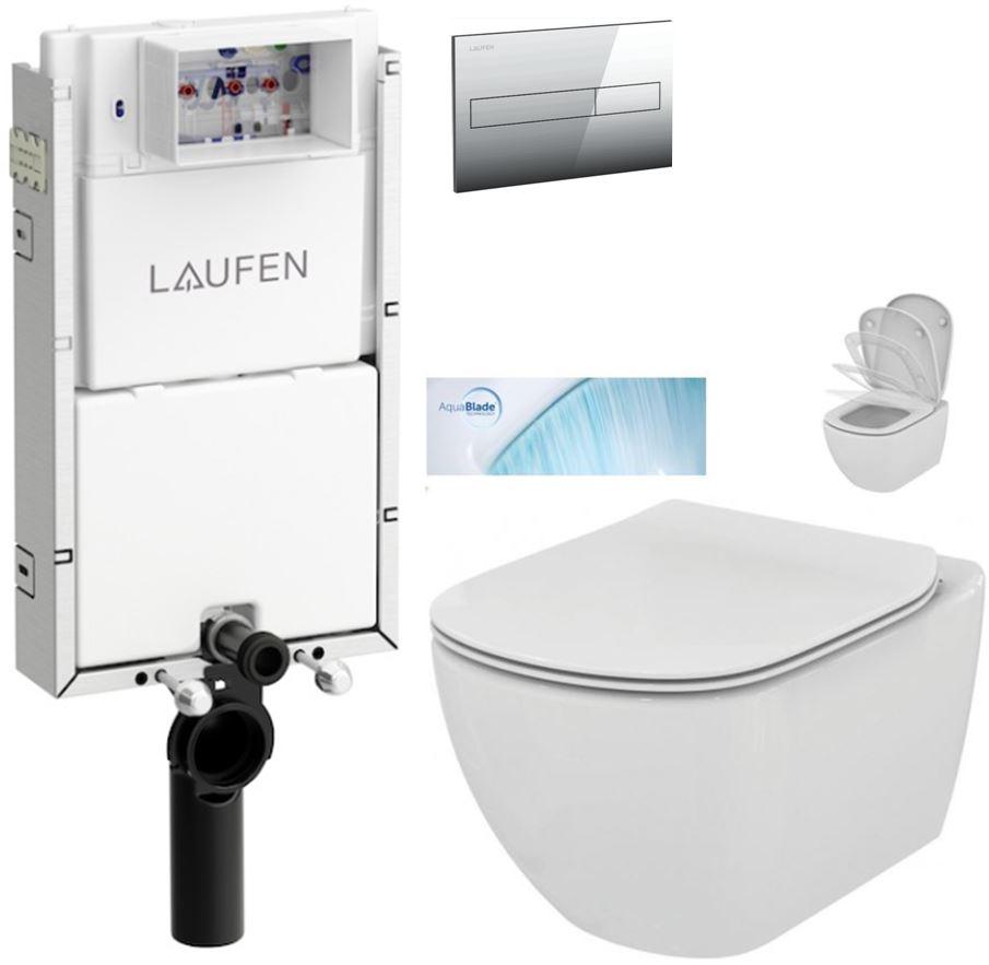LAUFEN Podomít. systém LIS TW1 SET s chromovým tlačítkem + WC Ideal Standard Tesi se sedátkem SoftClose, AquaBlade H8946630000001CR TE1