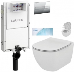 AKCE/SET/LAUFEN - Podomít. systém LIS TW1 SET + ovládací tlačítko CHROM + WC TESI se sedátkem SoftClose, AquaBlade (H8946630000001CR TE1)