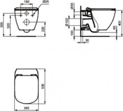 AKCE/SET/VIEGA - Eko PLUS modul do jádra WC čelní ovládání  SET + ovládací tlačítko CHROM + WC TESI se sedátkem SoftClose, AquaBlade (V622176CR TE1), fotografie 4/8