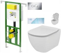 AKCE/SET/VIEGA - Eko PLUS modul do jádra WC čelní ovládání  SET + ovládací tlačítko CHROM + WC TESI se sedátkem SoftClose, AquaBlade (V622176CR TE1)