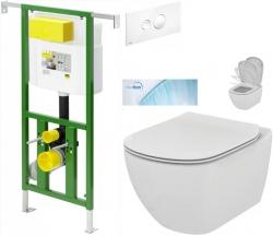 AKCE/SET/VIEGA - Eko PLUS modul do jádra WC čelní ovládání  SET + ovládací tlačítko BÍLÉ + WC TESI se sedátkem SoftClose, AquaBlade (V622176BI TE1)