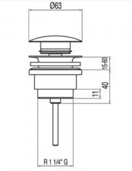 TRES - Umyvadlový ventil SIMPLE-RAPIDzátka O63mm CLICK-CLACK (13454010), fotografie 2/1