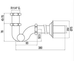TRES - Umyvadlový sifon s kloubovým zakřivením. S otvorem (13463820), fotografie 2/1
