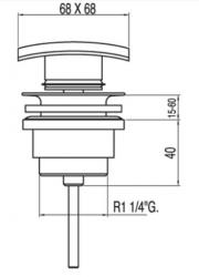 TRES - Umyvadlový ventil SIMPLE-RAPIDČtvercová zátka 68x68mm CLICK-CLACK (13434010), fotografie 2/1