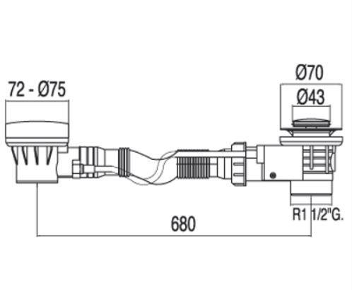 TRES - Automatický odtok vany s přepademzátka O43mm (13453410)