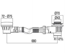 TRES - Automatický odtok vany s přepademzátka O43mm (13453410), fotografie 2/1