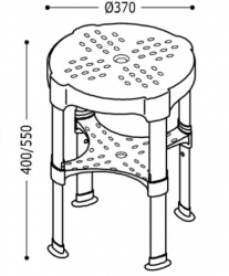 TRES - Nastavitelná koupelnová stoličkaMaximální nosnost 225 kg. (03463629), fotografie 4/2