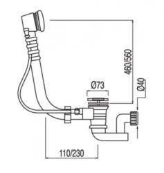 TRES - Automatický odtok vany s přepademzátka O73mm (134846), fotografie 2/1