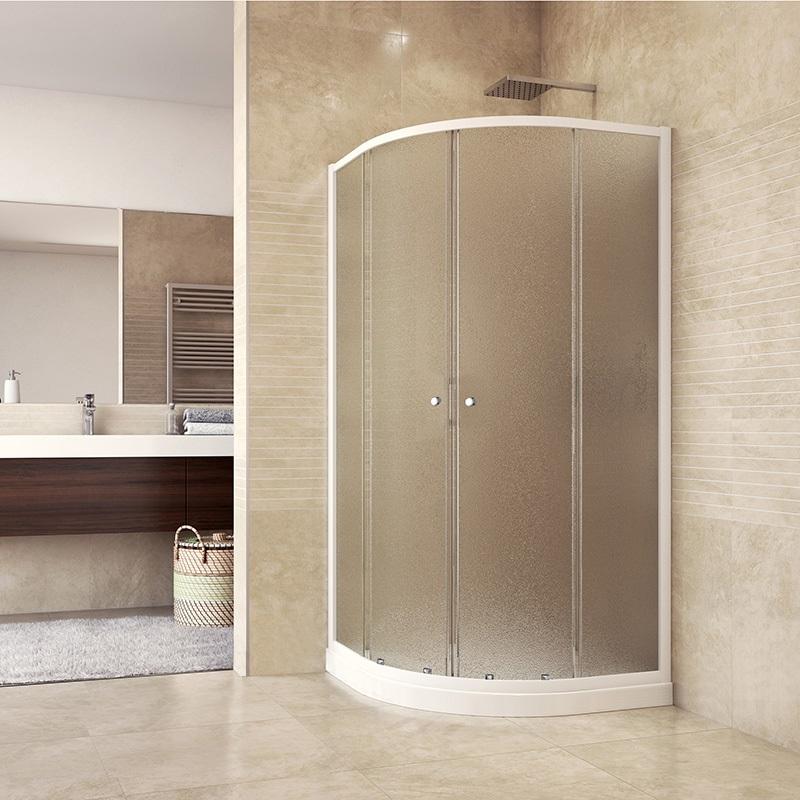 MEREO Sprchový set: sprchový kout, čtvrtkruh, 90x90x185 cm, R550, bílý ALU, sklo Chinchilla, vanička SMC CK35124HH