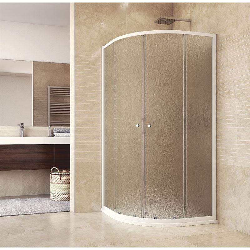 MEREO Sprchový set: sprchový kout, čtvrtkruh, 90x185 cm, R550, bílý ALU, sklo Chinchilla, SMC vanička CK35124HN