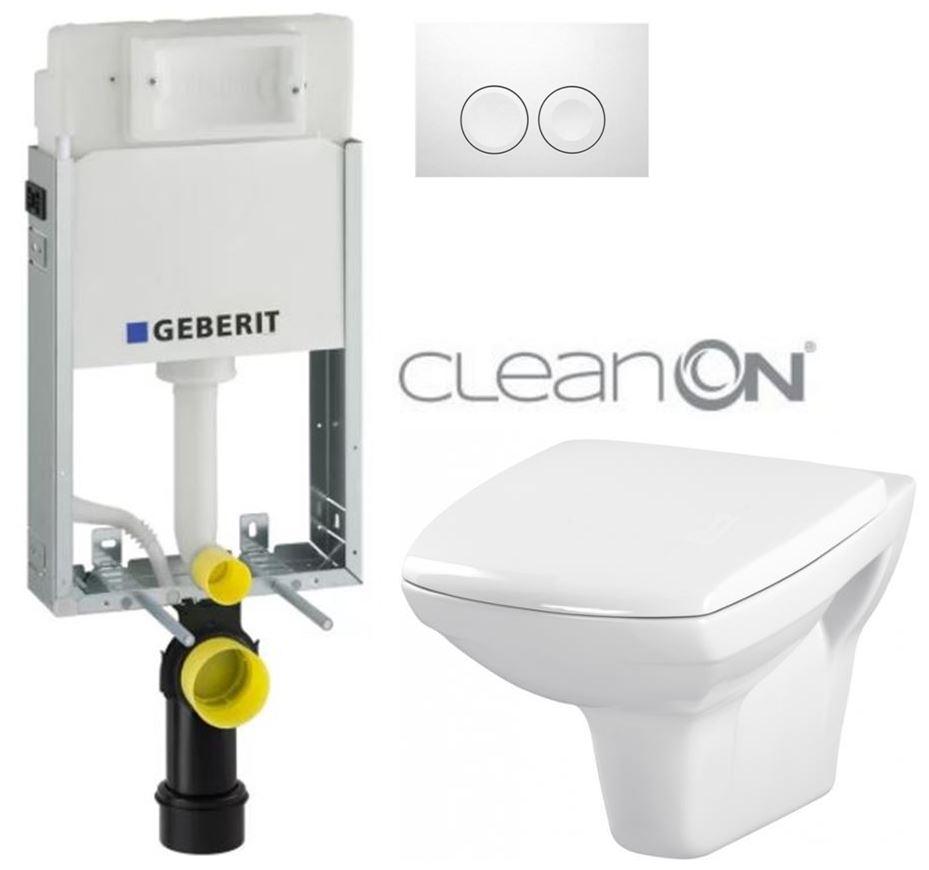 AKCE/SET/GEBERIT - KOMBIFIXBasic včetně ovládacího tlačítka DELTA 21 Bílé pro závěsné WC CERSANIT CLEANON CARINA + SEDÁTKO (110.100.00.1 21BI CA1)
