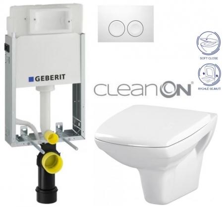 AKCE/SET/GEBERIT - KOMBIFIXBasic včetně ovládacího tlačítka DELTA 21 Bílé pro závěsné WC CERSANIT CLEANON CARINA + SEDÁTKO (110.100.00.1 21BI CA2)