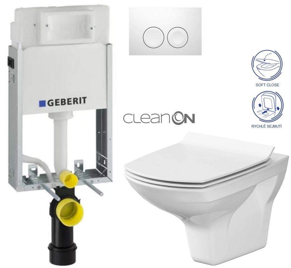 GEBERIT - KOMBIFIXBasic včetně ovládacího tlačítka DELTA 21 Bílé pro závěsné WC CERSANIT CLEANON CARINA + SEDÁTKO (110.100.00.1 21BI CA3) - AKCE/SET/GEBERIT