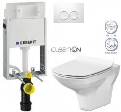 AKCE/SET/GEBERIT - SET KOMBIFIXBasic včetně ovládacího tlačítka DELTA 21 Bílé pro závěsné WC CERSANIT CLEANON CARINA + SEDÁTKO (110.100.00.1 21BI CA3)