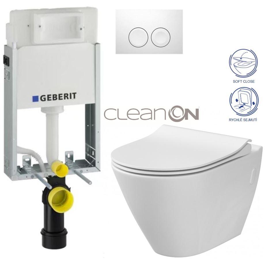 AKCE/SET/GEBERIT - KOMBIFIXBasic včetně ovládacího tlačítka DELTA 21 Bílé pro závěsné WC CERSANIT CLEANON CITY + SEDÁTKO (110.100.00.1 21BI CI1)