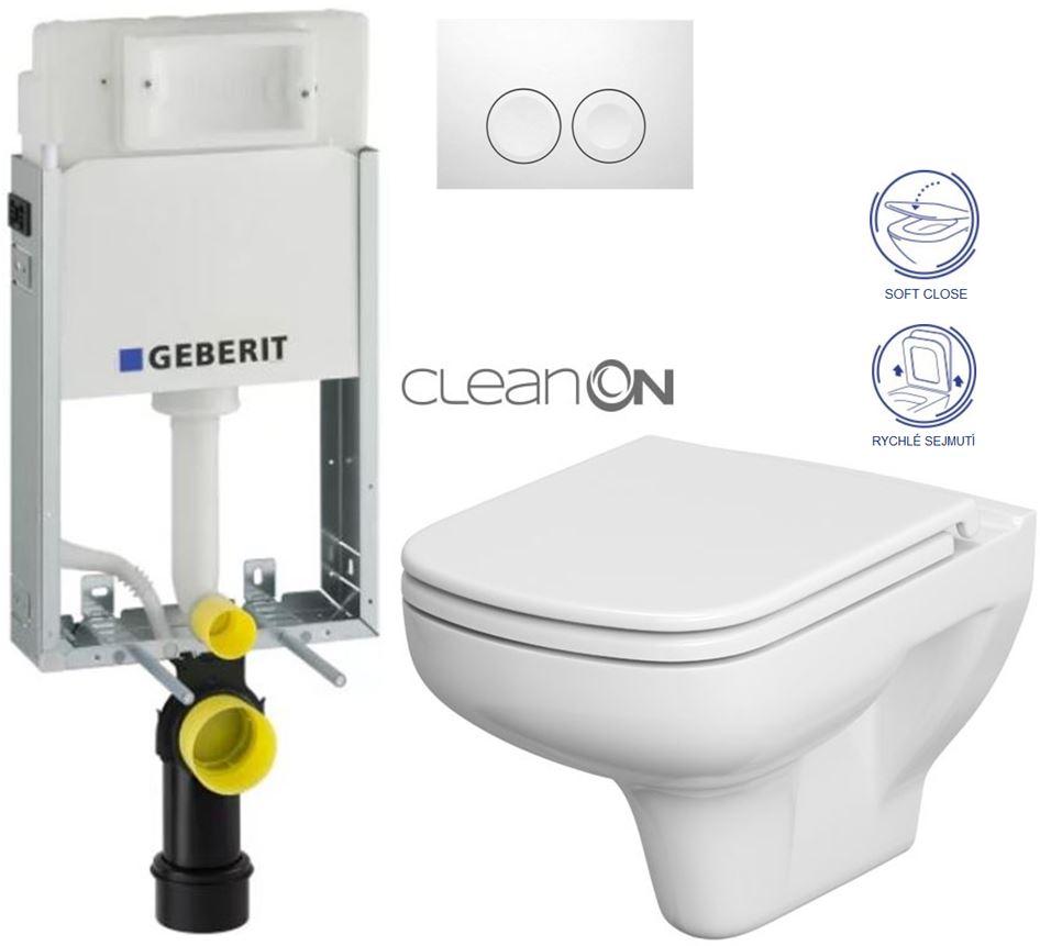 AKCE/SET/GEBERIT - GEBERIT - KOMBIFIXBasic včetně ovládacího tlačítka DELTA 21 Bílé pro závěsné WC CERSANIT CLEANON COLOUR + SEDÁTKO (110.100.00.1 21BI CN1)