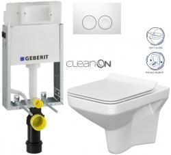 SET KOMBIFIXBasic včetně ovládacího tlačítka DELTA 21 Bílé pro závěsné WC CERSANIT CLEANON COMO + SEDÁTKO (110.100.00.1 21BI CO1) - AKCE/SET/GEBERIT