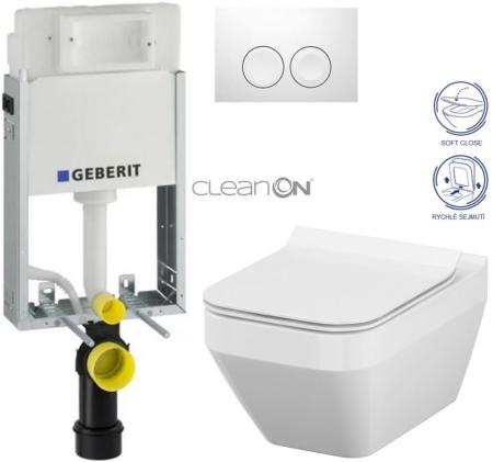 AKCE/SET/GEBERIT - KOMBIFIXBasic včetně ovládacího tlačítka DELTA 21 Bílé pro závěsné WC CERSANIT CLEANON CREA ČTVEREC + SEDÁTKO (110.100.00.1 21BI CR2)