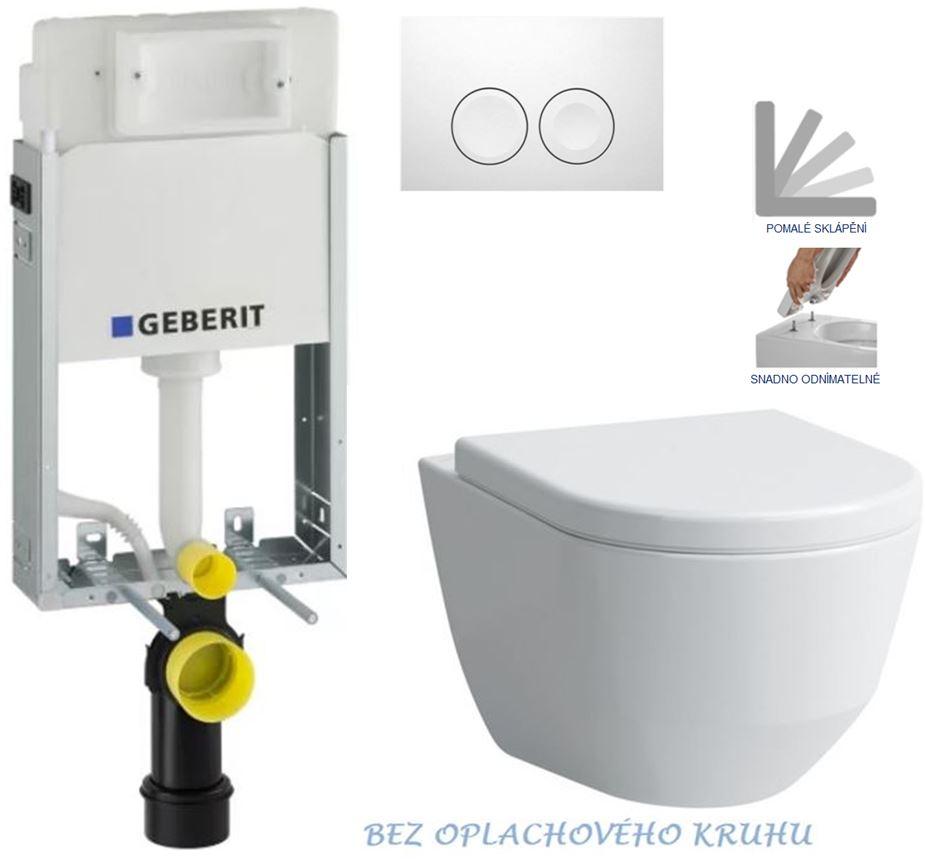 AKCE/SET/GEBERIT - KOMBIFIXBasic včetně ovládacího tlačítka DELTA 21 Bílé pro závěsné WC LAUFEN PRO RIMLESS + SEDÁTKO  (110.100.00.1 21BI LP1)