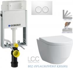 AKCE/SET/GEBERIT - KOMBIFIXBasic včetně ovládacího tlačítka DELTA 21 Bílé pro závěsné WC LAUFEN PRO LCC RIMLESS + SEDÁTKO (110.100.00.1 21BI LP2)