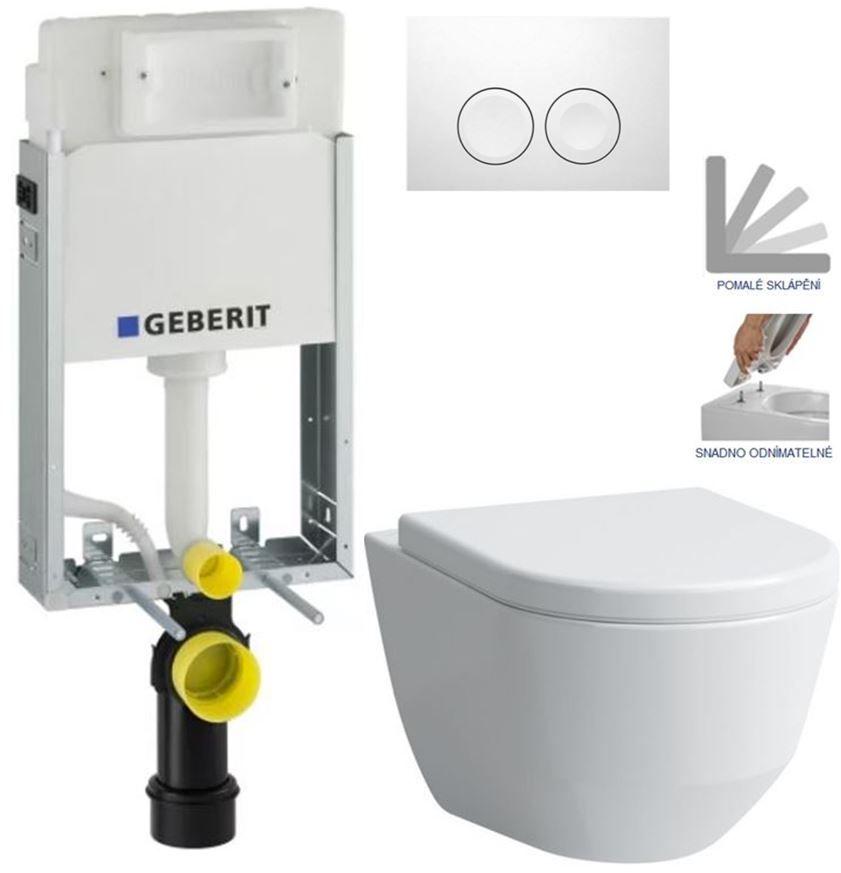 Geberit KOMBIFIX Basic tlačítko DELTA 21 Bílé WC LAUFEN PRO + SEDÁTKO 110.100.00.1 21BI LP3