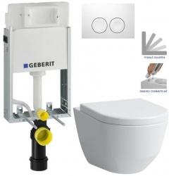AKCE/SET/GEBERIT - KOMBIFIXBasic včetně ovládacího tlačítka DELTA 21 Bílé pro závěsné WC LAUFEN PRO + SEDÁTKO (110.100.00.1 21BI LP3)