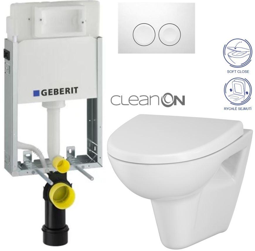 AKCE/SET/GEBERIT - KOMBIFIXBasic včetně ovládacího tlačítka DELTA 21 Bílé pro závěsné WC CERSANIT CLEANON PARVA + SEDÁTKO (110.100.00.1 21BI PA1)