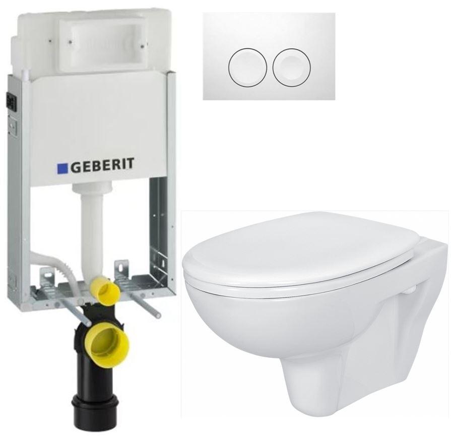 AKCE/SET/GEBERIT - KOMBIFIXBasic včetně ovládacího tlačítka DELTA 21 Bílé pro závěsné WC CERSANIT PRESIDENT + SEDÁTKO (110.100.00.1 21BI PR1)