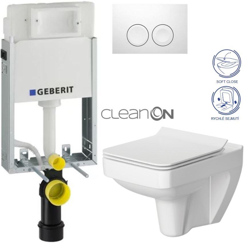 AKCE/SET/GEBERIT - KOMBIFIXBasic včetně ovládacího tlačítka DELTA 21 Bílé pro závěsné WC CERSANIT CLEANON SPLENDOUR + SEDÁTKO (110.100.00.1 21BI SP1)