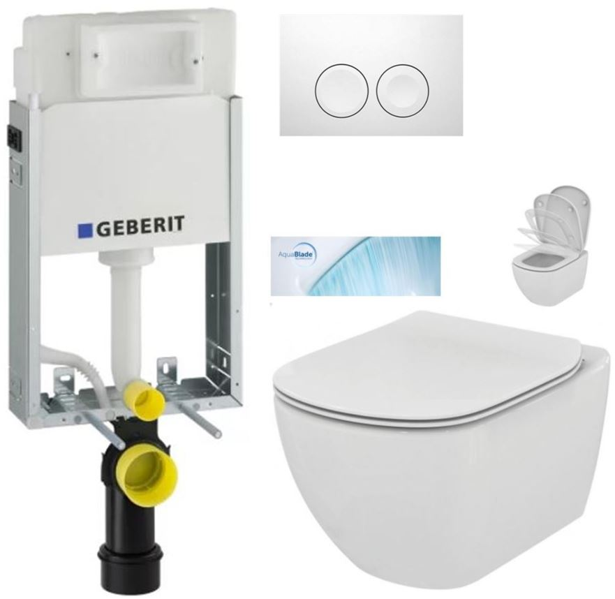 AKCE/SET/GEBERIT - KOMBIFIXBasic včetně ovládacího tlačítka DELTA 21 Bílé pro závěsné WC TESI se sedátkem SoftClose, AquaBlade (110.100.00.1 21BI TE1)