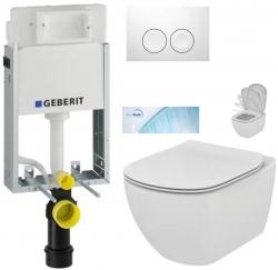 AKCE/SET/GEBERIT - SET KOMBIFIXBasic včetně ovládacího tlačítka DELTA 21 Bílé pro závěsné WC TESI se sedátkem SoftClose, AquaBlade (110.100.00.1 21BI TE1)