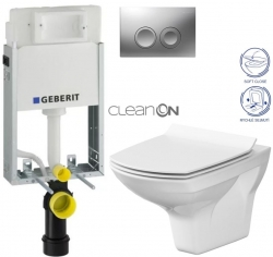 AKCE/SET/GEBERIT - KOMBIFIXBasic včetně ovládacího tlačítka DELTA 21 MAT pro závěsné WC CERSANIT CLEANON CARINA + SEDÁTKO (110.100.00.1 21MA CA3)
