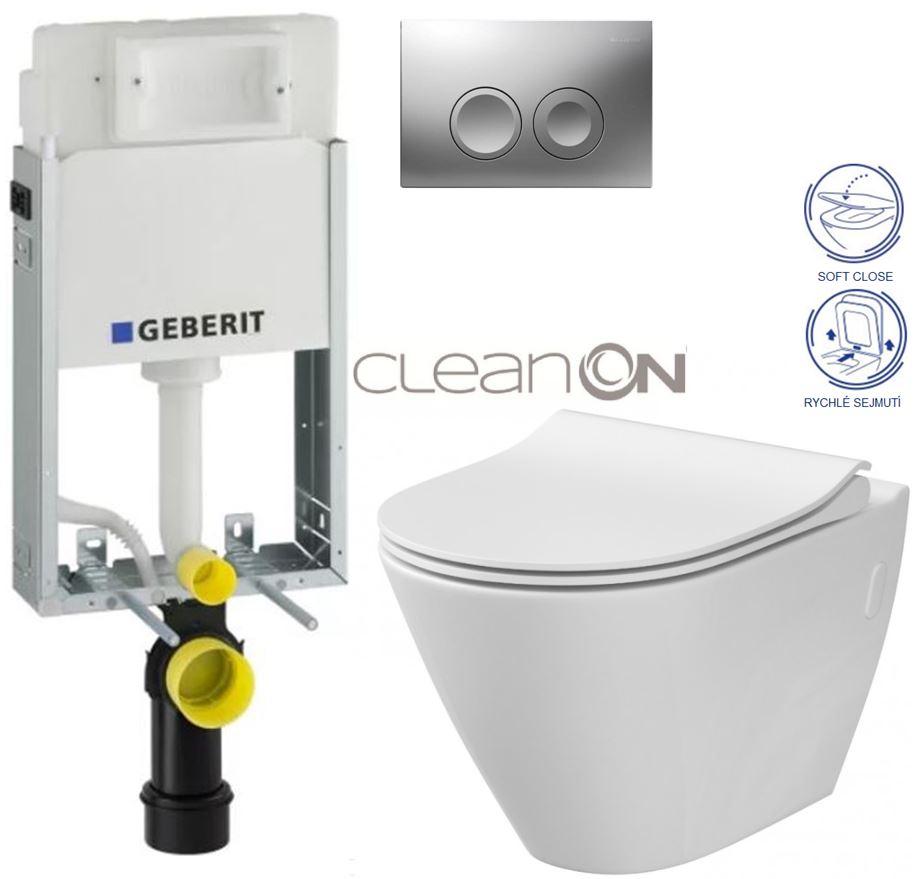 KOMBIFIXBasic včetně ovládacího tlačítka DELTA 21 MAT pro závěsné WC CERSANIT CLEANON CITY + SEDÁTKO (110.100.00.1 21MA CI1) - AKCE/SET/GEBERIT