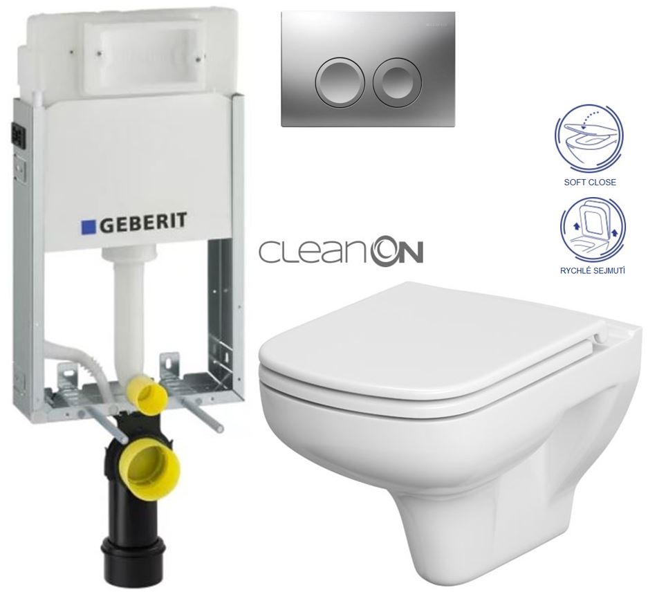 AKCE/SET/GEBERIT - GEBERIT - KOMBIFIXBasic včetně ovládacího tlačítka DELTA 21 MAT pro závěsné WC CERSANIT CLEANON COLOUR + SEDÁTKO (110.100.00.1 21MA CN1)