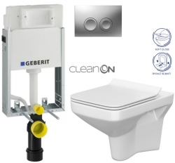 AKCE/SET/GEBERIT - KOMBIFIXBasic včetně ovládacího tlačítka DELTA 21 MAT pro závěsné WC CERSANIT CLEANON COMO + SEDÁTKO (110.100.00.1 21MA CO1)