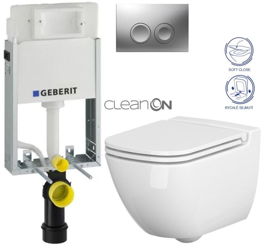 AKCE/SET/GEBERIT - KOMBIFIXBasic včetně ovládacího tlačítka DELTA 21 MAT pro závěsné WC CERSANIT CLEANON CASPIA + SEDÁTKO (110.100.00.1 21MA CP1)