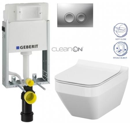 AKCE/SET/GEBERIT - KOMBIFIXBasic včetně ovládacího tlačítka DELTA 21 MAT pro závěsné WC CERSANIT CLEANON CREA ČTVEREC + SEDÁTKO (110.100.00.1 21MA CR2)