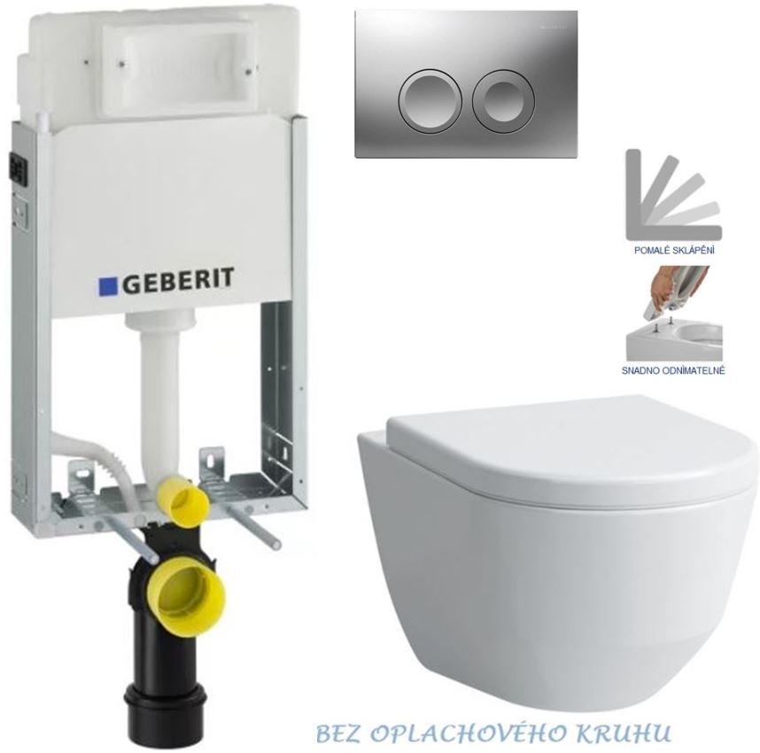 AKCE/SET/GEBERIT - GEBERIT - KOMBIFIXBasic včetně ovládacího tlačítka DELTA 21 MAT pro závěsné WC LAUFEN PRO RIMLESS + SEDÁTKO (110.100.00.1 21MA LP1)