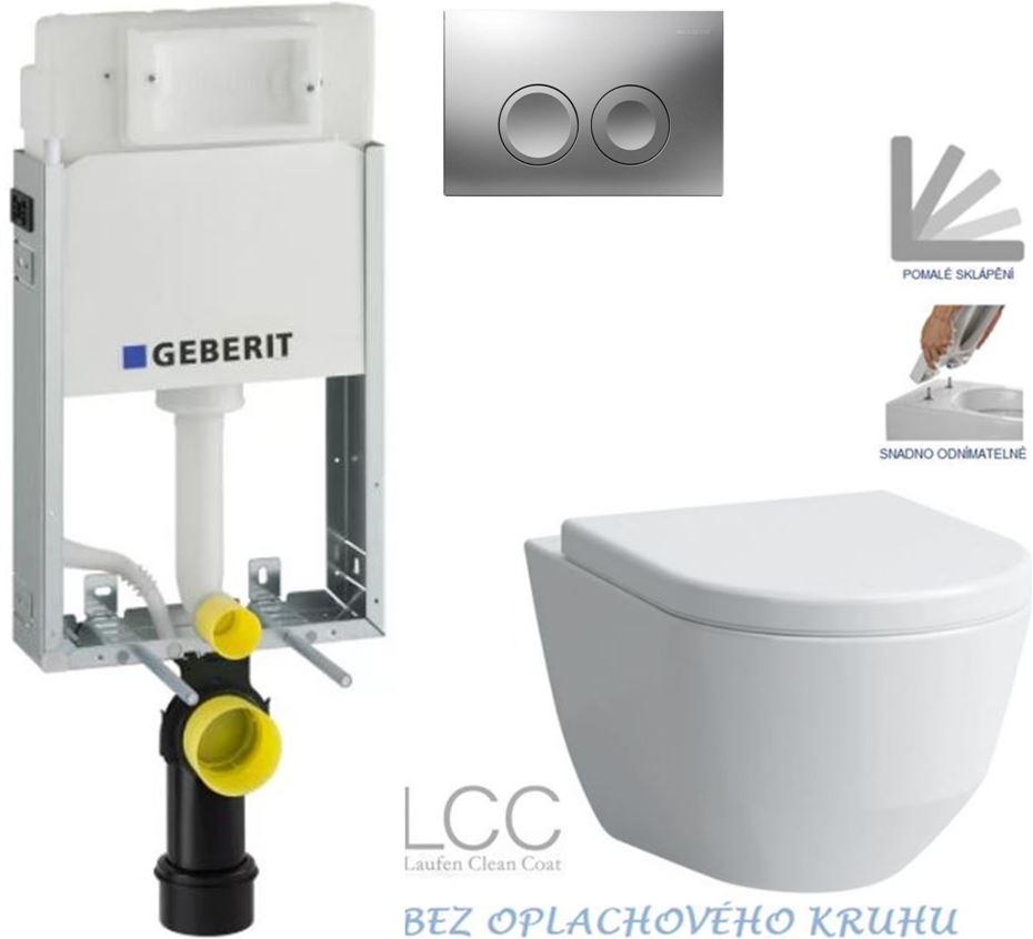 AKCE/SET/GEBERIT - GEBERIT - KOMBIFIXBasic včetně ovládacího tlačítka DELTA 21 MAT pro závěsné WC LAUFEN PRO LCC RIMLESS + SEDÁTKO (110.100.00.1 21MA LP2)