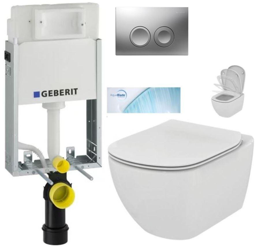 AKCE/SET/GEBERIT - GEBERIT - KOMBIFIXBasic včetně ovládacího tlačítka DELTA 21 MAT pro závěsné WC TESI se sedátkem SoftClose, AquaBlade (110.100.00.1 21MA TE1)