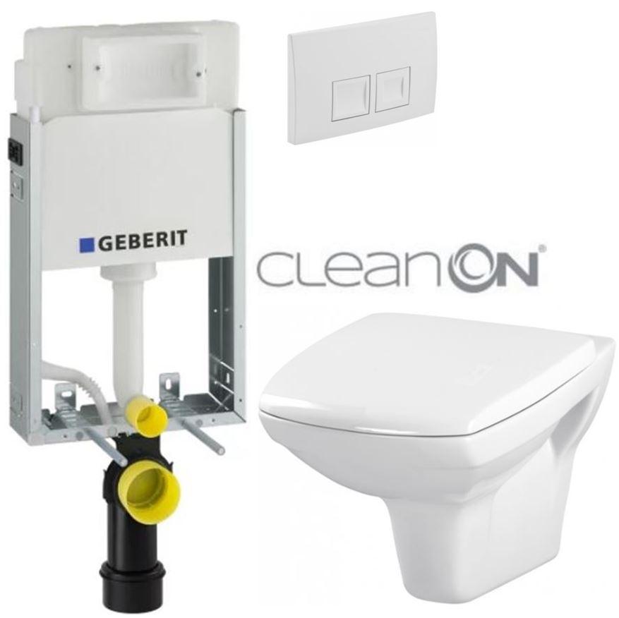 AKCE/SET/GEBERIT - KOMBIFIXBasic včetně ovládacího tlačítka DELTA 50 Bílé pro závěsné WC CERSANIT CLEANON CARINA  + SEDÁTKO (110.100.00.1 50BI CA1)