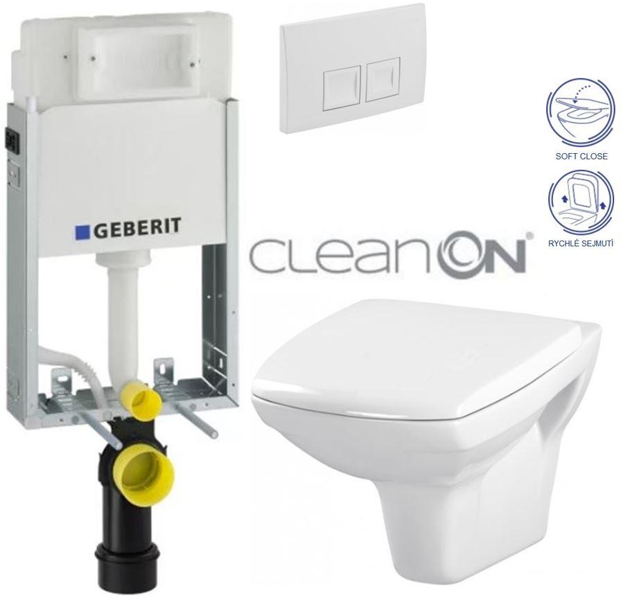 AKCE/SET/GEBERIT - KOMBIFIXBasic včetně ovládacího tlačítka DELTA 50 Bílé pro závěsné WC CERSANIT CLEANON CARINA + SEDÁTKO (110.100.00.1 50BI CA2)