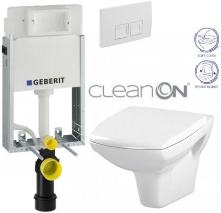 AKCE/SET/GEBERIT - SET KOMBIFIXBasic včetně ovládacího tlačítka DELTA 50 Bílé pro závěsné WC CERSANIT CLEANON CARINA + SEDÁTKO (110.100.00.1 50BI CA2)