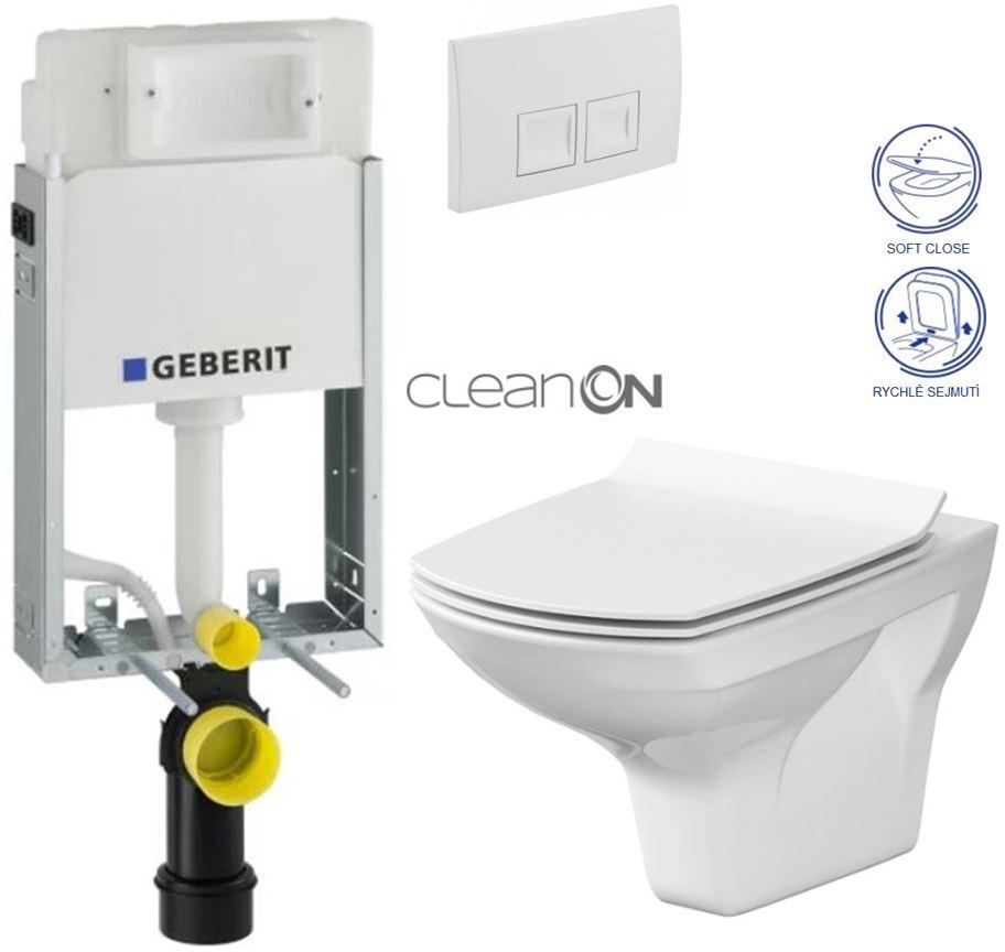 AKCE/SET/GEBERIT - KOMBIFIXBasic včetně ovládacího tlačítka DELTA 50 Bílé pro závěsné WC CERSANIT CLEANON CARINA + SEDÁTKO (110.100.00.1 50BI CA3)