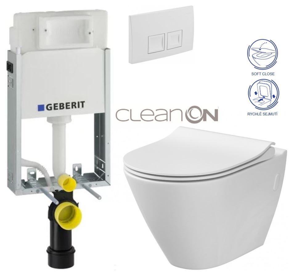 AKCE/SET/GEBERIT - KOMBIFIXBasic včetně ovládacího tlačítka DELTA 50 Bílé pro závěsné WC CERSANIT CLEANON CITY (110.100.00.1 50BI CI1)
