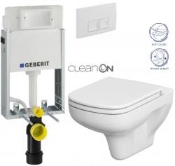 SET KOMBIFIXBasic včetně ovládacího tlačítka DELTA 50 Bílé pro závěsné WC CERSANIT CLEANON COLOUR + SEDÁTKO (110.100.00.1 50BI CN1) - AKCE/SET/GEBERIT