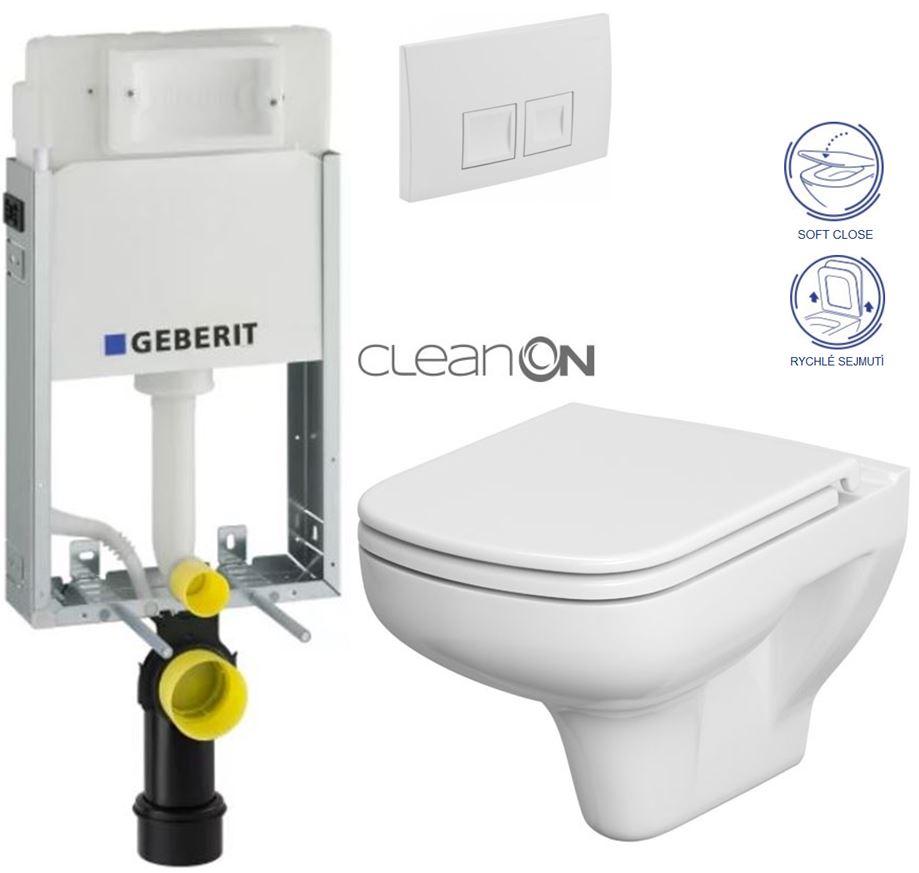 AKCE/SET/GEBERIT - GEBERIT - KOMBIFIXBasic včetně ovládacího tlačítka DELTA 50 Bílé pro závěsné WC CERSANIT CLEANON COLOUR + SEDÁTKO (110.100.00.1 50BI CN1)