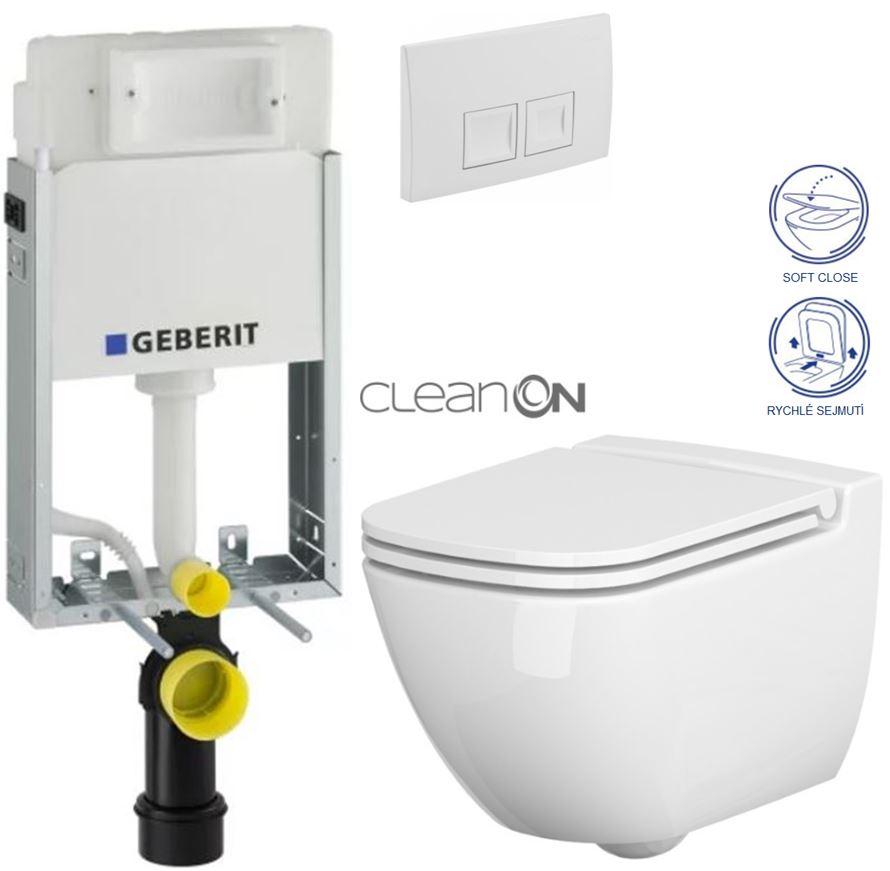 AKCE/SET/GEBERIT - KOMBIFIXBasic včetně ovládacího tlačítka DELTA 50 Bílé pro závěsné WC CERSANIT CLEANON CASPIA + SEDÁTKO (110.100.00.1 50BI CP1)