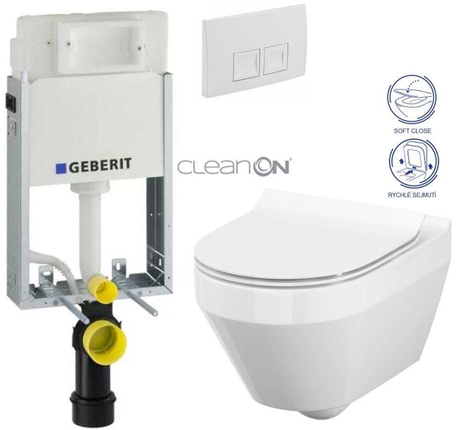 AKCE/SET/GEBERIT - KOMBIFIXBasic včetně ovládacího tlačítka DELTA 50 Bílé pro závěsné WC CERSANIT CLEANON CREA OVÁL + SEDÁTKO (110.100.00.1 50BI CR1)