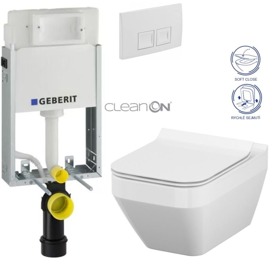 AKCE/SET/GEBERIT - GEBERIT - KOMBIFIXBasic včetně ovládacího tlačítka DELTA 50 Bílé pro závěsné WC CERSANIT CLEANON CREA OVÁL + SEDÁTKO (110.100.00.1 50BI CR2)
